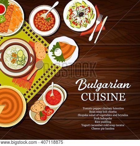 Bulgarian Cuisine Food Vector Poster. Tomato Pepper Chutney Lutenitsa And Cheese Pie Banitsa, Bob Ch