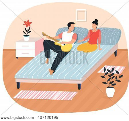 Couple Playing Musical. Character Creates Music. Musician Playing Strings On Instrument. Guy Sings W