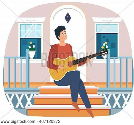 Man Sings Song. Guy Sitting On Doorstep Of His House And Plays Guitar. Person Creates Music. Male Ch