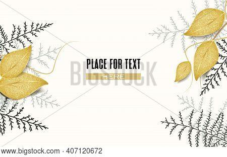Vector Illustration Of Golden Leaves. Gilded Greeting Card