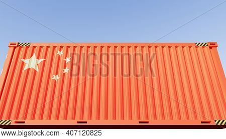 3d Rendering Of China Cargo Container Or Shipping Container For China Import Export Or Trade Concept
