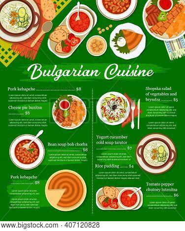 Bulgarian Restaurant Menu Cover Template. Pork Kebapche, Bean Soup Bob Chorba And Rice Pudding, Shop