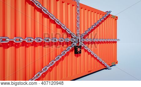 3d Rendering Of Cargo Container And Trade Business Lockdown Due To Epidemic Of Corona Virus, Cargo C