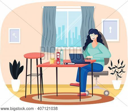 Woman Is Working With Computer At Home. Freelancer Working With Laptop Remotely. Female Character Si