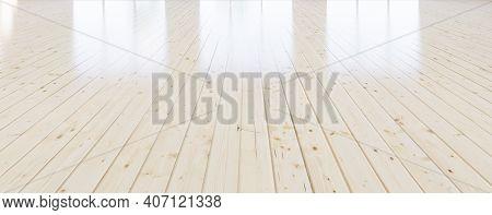 3d Rendering Of Wood Floor, Wooden Floor In Perspective View For Background. Inside Empty Room, Hous