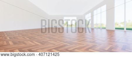 3d Rendering Of Wood Floor, Wooden Floor In Perspective View For Background. Inside Empty Room, Home