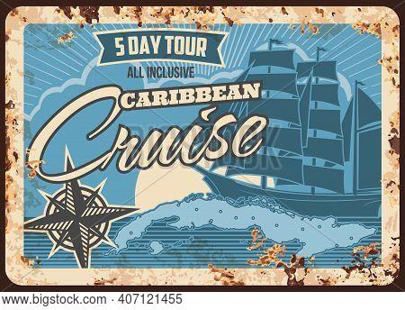 Sea Cruise Ship, Metal Plate Rusty, Ocean Vacation Travel Vector Retro Poster. Caribbean Coast Holid