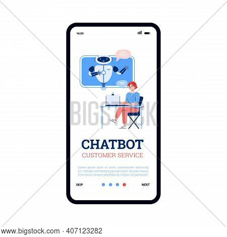 Onboarding Screen Design For Chatbot For Customer Service Or Technical Support. Mobile App Interface