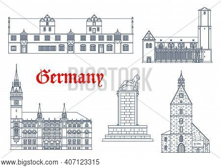 Germany Landmarks Architecture Icons, Houses And Cathedral Churches Buildings In Saxony. Stadthagen