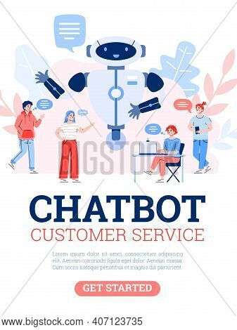 Chatbot Customer Service. Technology Of Communication With Smart Robot, Artificial Intelligence, Vir