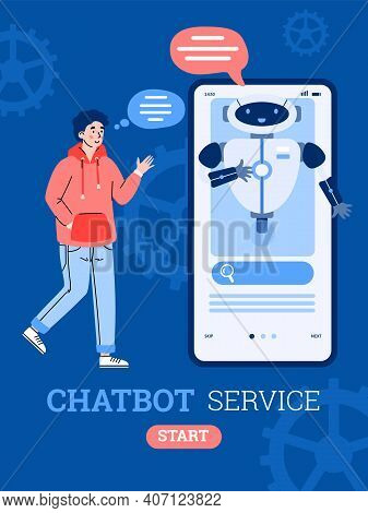 Banner With Man Chatting With Chatbot Via Mobile Smart Phone Application. Chatbot Assistant Conversa