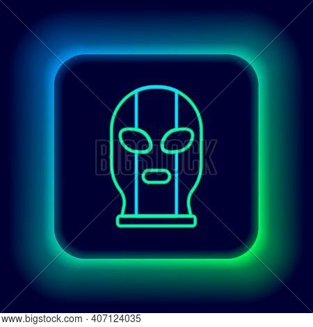 Glowing Neon Line Mexican Wrestler Icon Isolated On Black Background. Colorful Outline Concept. Vect