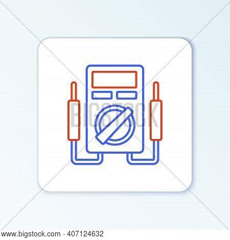 Line Ampere Meter, Multimeter, Voltmeter Icon Isolated On White Background. Instruments For Measurem
