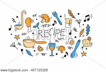 Doodle Vegan Food, Vegetables, Fruits, Mushrooms, Soy Meat, Soy Milk And Tableware. Ecological Produ