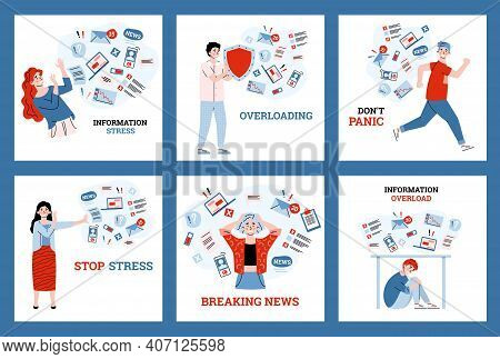 Set Of People Experiencing Information Stress, Cartoon Vector Illustration Isolated On White Backgro