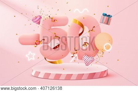 50 Percent Off. Discount Creative Composition. 3d Sale Symbol With Decorative Objects, Heart Shaped