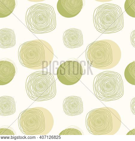 Vector Seamless Pattern. Stylish Illustration With Hand Drawn Green Abstract Organic Shape And Dot.