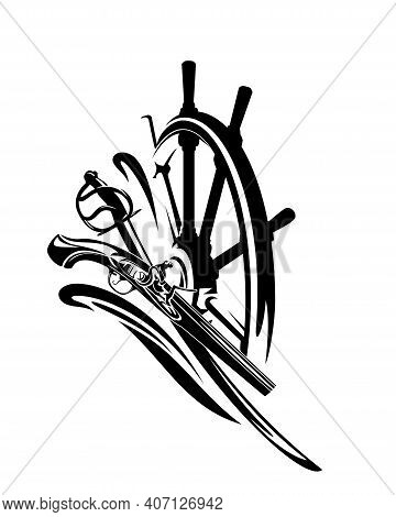 Adventurous Old Time Sea Travel Black And White Vector Emblem With Ship Helm, Sabre Sword And Antiqu