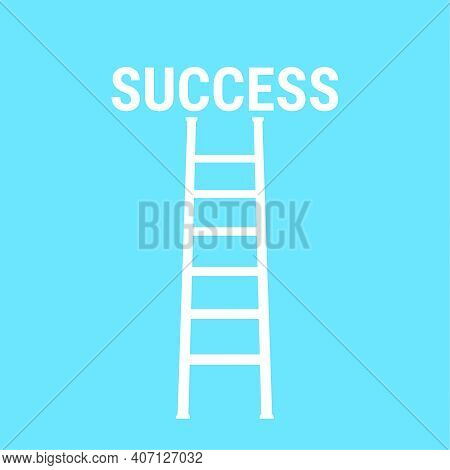 Vector Background With Ladder Leading To Success. The Concept Of Career Growth, New Opportunities.