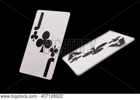 Casino BlackJack cards over black background
