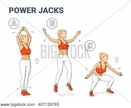 Power Jacks Exercise Female Home Workout Guidance. Power Jumps Illustration A Young Woman In Sportsw