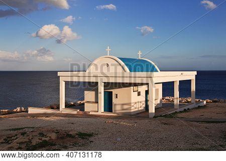 Ayia Napa, Cyprus - 08 Jan 2016: The Small Church On Cape Greco, Cyprus