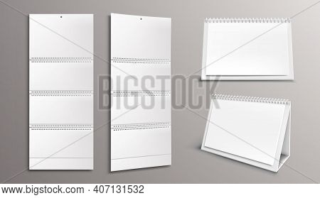 Calendar Mockup With Blank Pages And Binder. Desktop And Wall Paper Calender Front And Side View. Ag