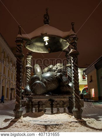 Kazan, Russia - January 08 2021: Monument Of Kazan Cat On Pedestrian Street In Kazan. Night Winter P