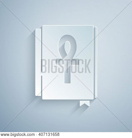 Paper Cut Cross Ankh Book Icon Isolated On Grey Background. Paper Art Style. Vector