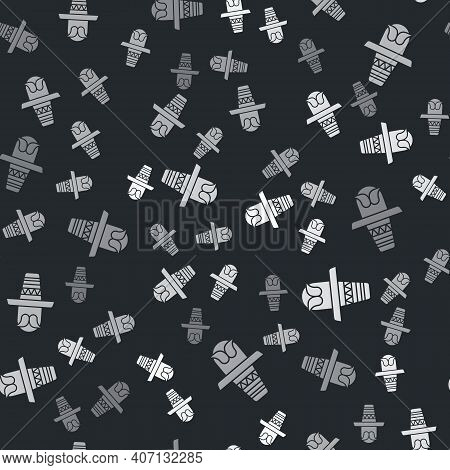 Grey Mexican Man Wearing Sombrero Icon Isolated Seamless Pattern On Black Background. Hispanic Man W