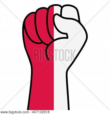 Raised Polish Fist Flag. Hand Of Poland. Fist Shape Poland Flag Color. Patriotic Demonstration, Rebe