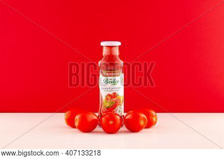 Prague,czech Republic -  17 January, 2021: La Torrente Basil Tomato Sauce Is A Classic Italian Tomat