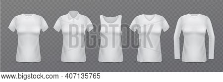 White Women T-shirts. Realistic Female Clothes Mockups Collection, Different Types Of Blouses, Colla