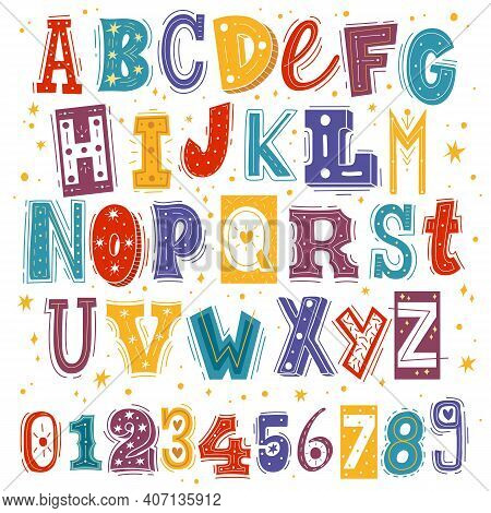 Funny Kids Font. Comic Childish Latin Letters And Arabic Numbers, Creative Bright Colorful English C