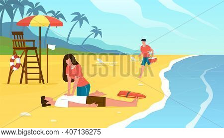 First Medical Aid. Emergency Assistance Drowning Situation, Beach Lifeguards Do Indirect Heart Massa