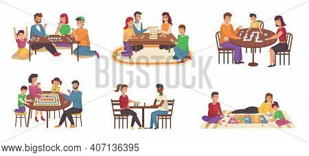 People Board Games. Happy Families Play Chess And Poker, Domino And Puzzles. Joint Home Activities,