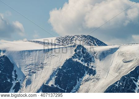 Atmospheric Alpine View To Big Snowy Mountains With Glaciers. Scenic Highland Landscape With Giant M
