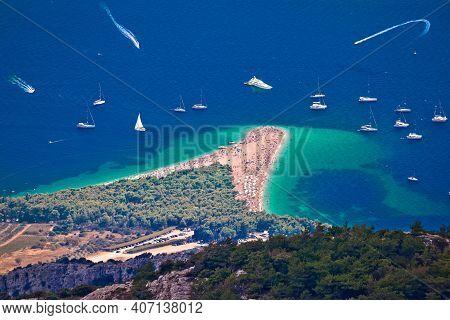 Famous Beach Of Zlatni Rat In Bol Aerial View, Island Of Brac, Dalmatia Region Of Croatia