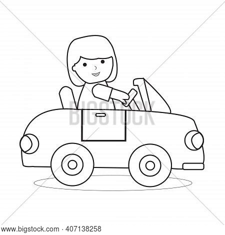 Little Girl Drive Car Outline Coloring Book For Children