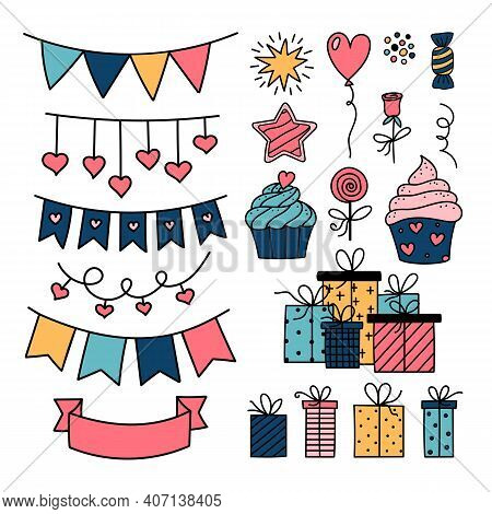 Vector Gift, Bunting, Garland, Cupcake, Candy, Hearts. Holiday Party, Love Symbols Doodle Set. Valen