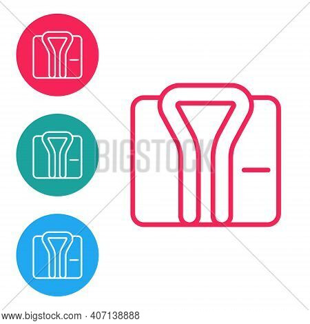 Red Line Bathrobe Icon Isolated On White Background. Set Icons In Circle Buttons. Vector