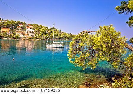Turquoise Beach Yachting And Sailing Destination On Island Of Brac, Archipelago Of Dalmatia, Croatia