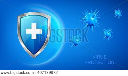 Virus Protection Banner With Shield, Cross And Bacteria Piked Cells Flying On Blue Background. Anti
