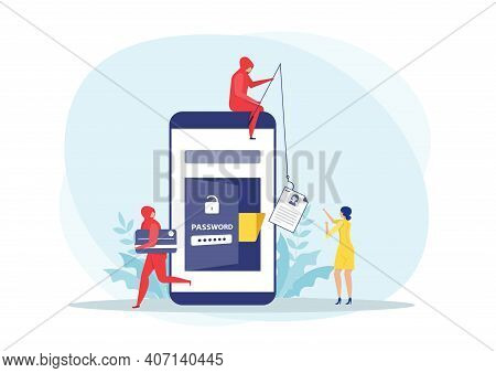 Hacker Steal Credit Card Out Of From Smartphone, And Thief Fishing Steal Personal Data On Phone Conc