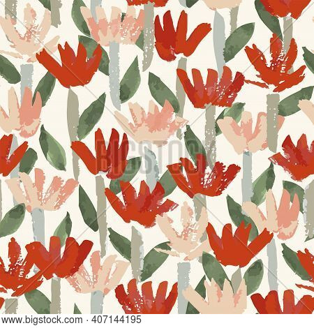 Red And Pink Dry Brush Flowers Love Seamless Vector Pattern. Beautiful Hand-painted Flowers With Dry