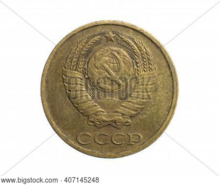 Two Cccp Kopecks Coin On A White Isolated Background