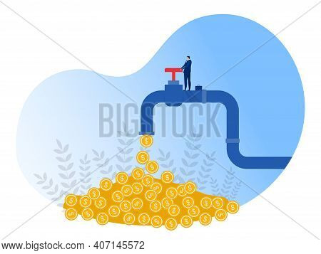 Businessman Opens A Tap From Which Coins Flow. Financial Income,investment Income. Passive Income Co