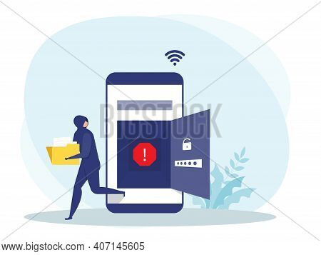 Hacker Or Criminal Thief In Black, Stealing Data Or Personal Identity On Mobile Concept,