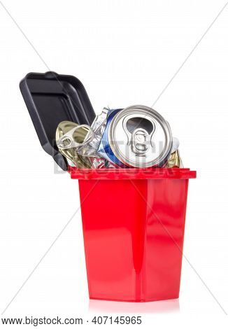 Red Trash Can And Metal Household Waste Isolated On White Background