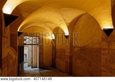 Lyon, France, February 6, 2021 : The Longue Traboule In Historic Center Of Lyon. Traboules Are A Typ